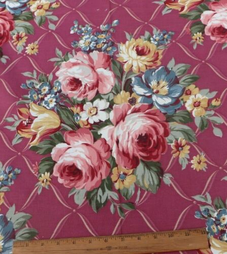 Vintage c1940s American Roses On Mauve Ground Cotton Fabric Yardage~4yds X W-47""