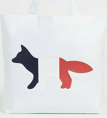 Maison Kitsuné TRICOLOR FOX TOTE BAG WHITE (*New)