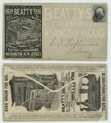 Mr Fancy Cancel 1c BN ILLUSTRATED 2-SIDED AD COVER BEATTYS PIANO AND ORGAN CO