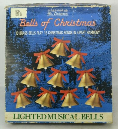 Vintage Mr Christmas 10 Brass Bells Of Christmas Lighted Musical Plays 15 Songs