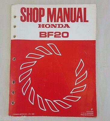 1984 HONDA MARINE OUTBOARD MOTOR  BF20  SERVICE SHOP MANUAL