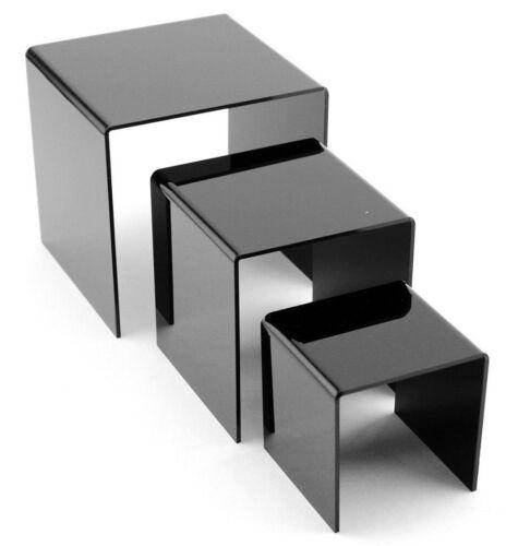 "3pc Black Acrylic Riser 3"", 4"", 5"" Set Product Display Jewelry Holder Showcase"