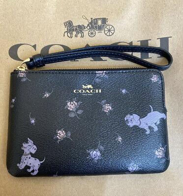 COACH Disney Dalmatian Floral Print Corner Zip Wristlet NWT!