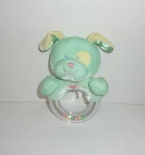 """Heads & Tales Gund Green Yellow Puppy Dog Spot Ring Rattle Baby Toy 5"""""""