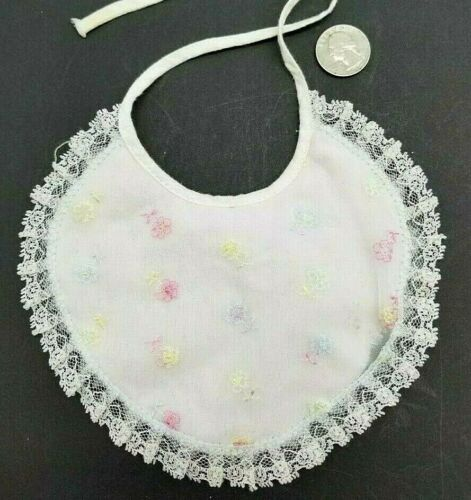 Vintage Baby Bib Embroidered Trimmed W/Lace Plastic Lining Small Doll Accessory