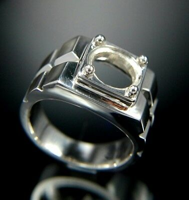 Semi mount mens silver ring 925 size 8 9 10 11 12 13 14 setting round 10 mm