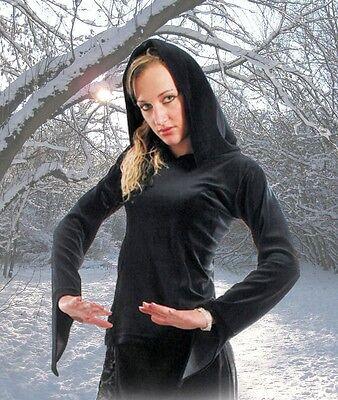 Mittelalter Gothic Wicca Pagan Hexe Nicky Samt Top lange Kapuze 36 38 40 - Pagan Hexe Kostüm