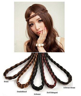 Haarband Zopf Stirnband geflochten Flechtzopf Haarschmuck Kunsthaar 5 Farben