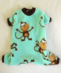 M Monkey Fleece Dog Pajamas clothes PJS pet apparel clothing Medium