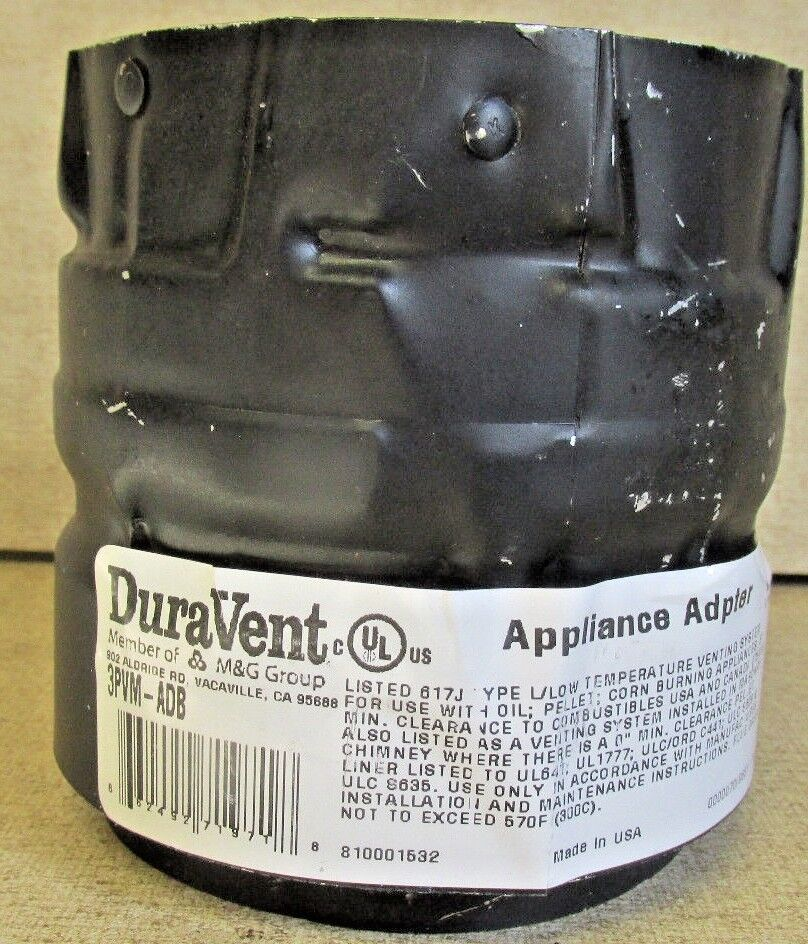 "DuraVent 3"" Vent Pipe Appliance Adapter -Chimney Pellet Stov"