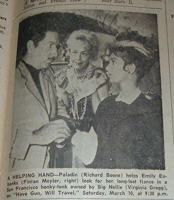 1962 TV AD~RICHARD BOONE HAVE GUN WILL TRAVEL~VIRGINIA GREGG~FINTAN MEYLER