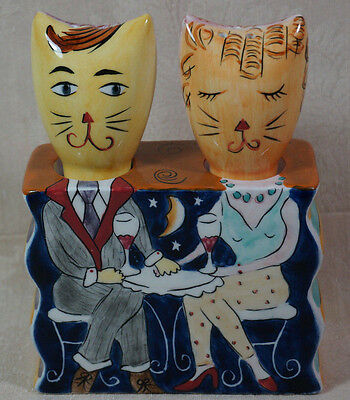 Vintage Clay Art Cat Salt And Pepper Shaker Set