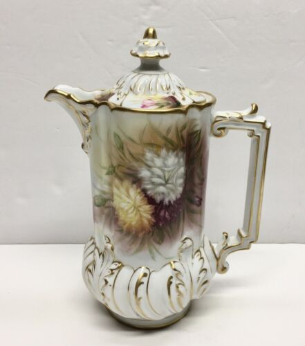 Vintage LIMOGES FRANCE Hand Painted Chocolate Coffee Tea Pot  Gold Gilt SIGNED