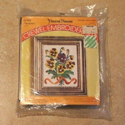 PANSIES Crewel Embroidery Kit Pauline Denham 6043 - Frame included   **NEW**