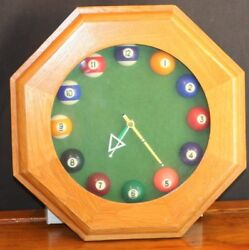 Billiards Wall Clock Pool Hall Balls Octagon Shaped Wood Frame Quartz  14 x 14