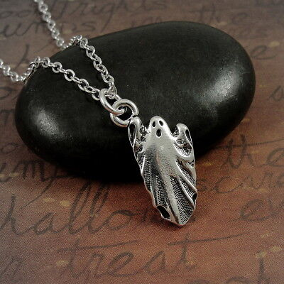 Silver Ghost Necklace - Halloween Ghoul Goblin Charm Jewelry NEW (Halloween Goblin)