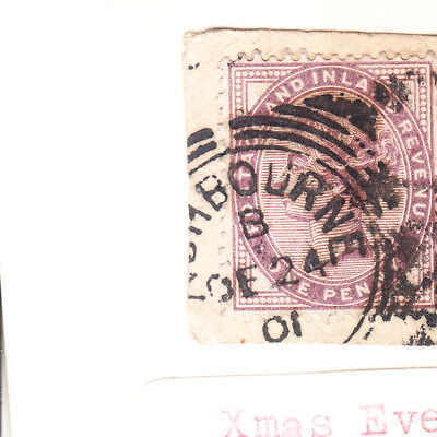 GB Queen Victoria 1d One Penny Mauve Stamp Franked Christmas Eve 1901