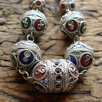 Moroccan enamel tarnished shiny round ornate barrel bead necklace