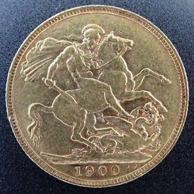 Full gold Sovereign coin Victoria 1900 graded VF