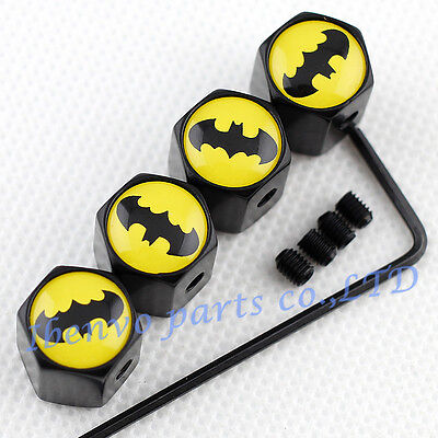 Anti Theft Black Metal Car Wheel Tyre Tire Stem Air Valve Cap For Yellow Batman