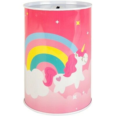 - 15cm Childrens Unicorn Money Tin Box Piggy Bank Novelty Savings Gift Coin Jar