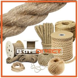 Natural Jute rope 2mm to 22mm twisted decking boating braided garden garage roofing