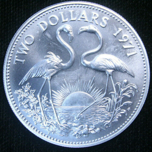 1971 Bahamas 2 Two Dollars, .925 Silver UNC, World Coin!