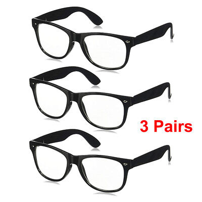 Plastic Nerd Glasses Bulk (3 PAIRS Mens Womens Unisex Clear Lens Nerd Retro Glasses Hipster Fashion)