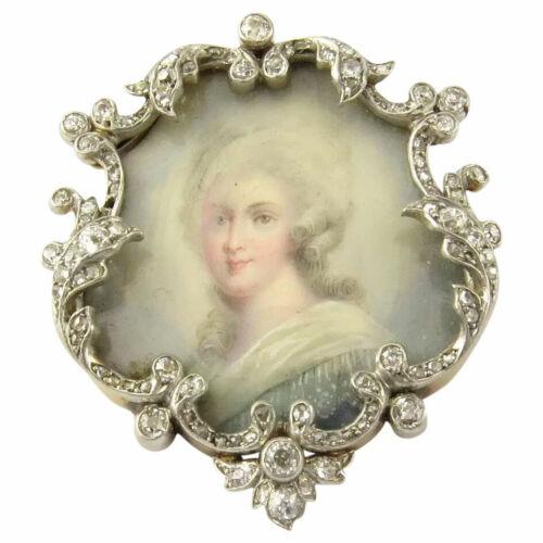 Antique Victorian 18 Karat Yellow Gold and Diamond Portrait Brooch #4712