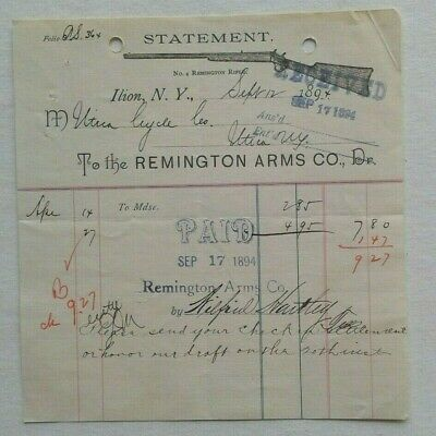 C.1894 STATEMENT...TO THE REMINGTON ARMS CO. ILION NEW YORK,IMAGE OF LONG RIFLE