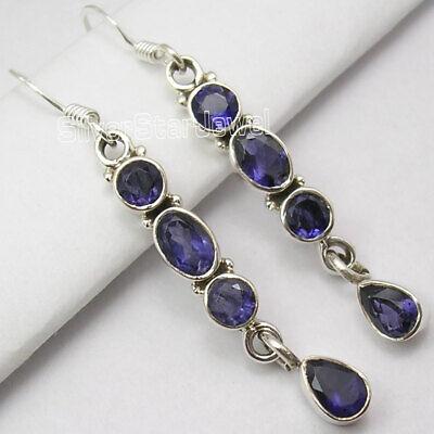 "Multi Gemstone DANGLING Earrings ! 925 Solid Silver IOLITE LONG Earrings 1.9"""