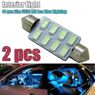 2-pc Aqua Ice Blue 5730 LED 41mm 578 211-2 561 Bulb Interior Map / Dome Light C3