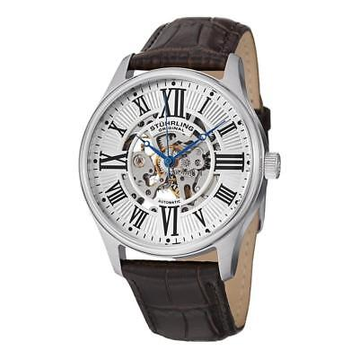 Stuhrling Original 747 01 Atrium Automatic Skeleton Leather Strap Mens Watch