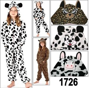 Ladies Animal Print Onesie with Hood & Ears Onezee Girls Jump Sleep Suit Pyjamas