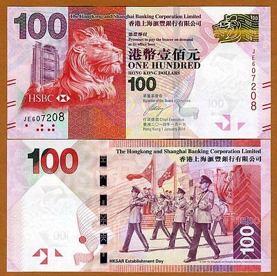 Hong Kong   100  2014  Hsbc  P 214D  Unc   Lion