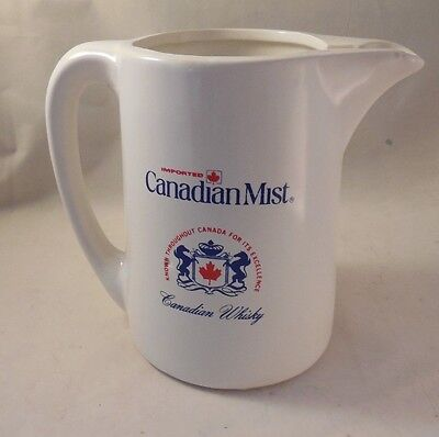 "CANADIAN MIST BAR TOP JUG PITCHER CERAMIC 6"" Mint Condition Canadian Whiskey"