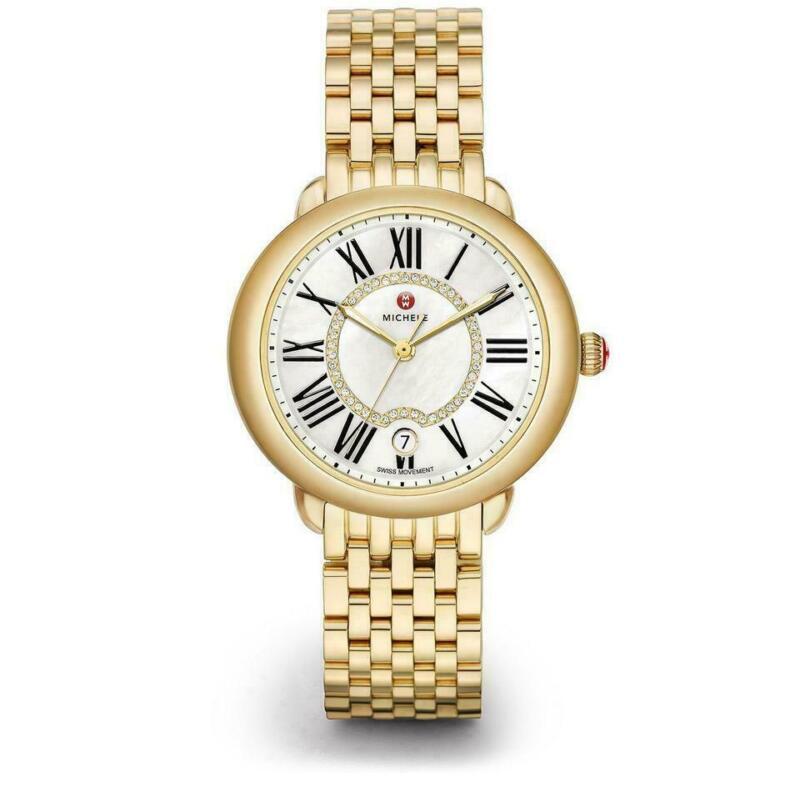 Michele Serein Mid Diamond Dial Gold Tone Ladies Watch MWW21B000017