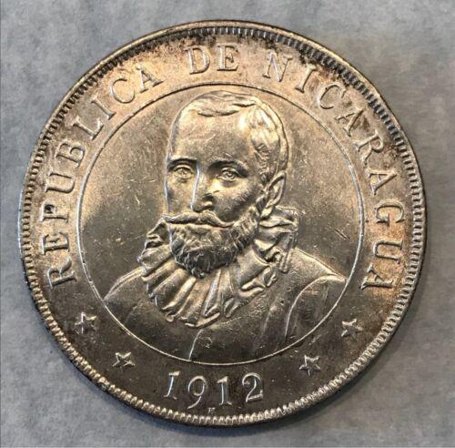 NICARAGUA 1912-H SILVER CROWN 1 CORDOBA SUPERB GEM TONED AU+/AU+ EXCEPTIONAL GEM
