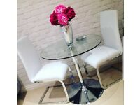 Gorgeous Round Glass Table & 2 High Back White Leather Chairs