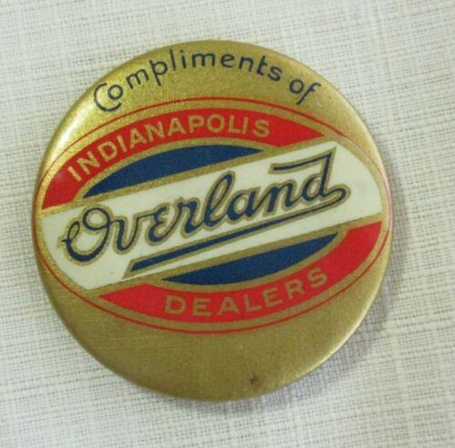 OVERLAND INDIANAPOLIS DEALERS  ~ 1919 CELLULOID POCKET MIRROR ~ WHITEHEAD HOAG