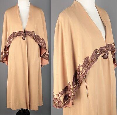 Vtg 40s Tan Wool Evalen Originals Capelet Swing Coat 1940s #1695 Beading RARE