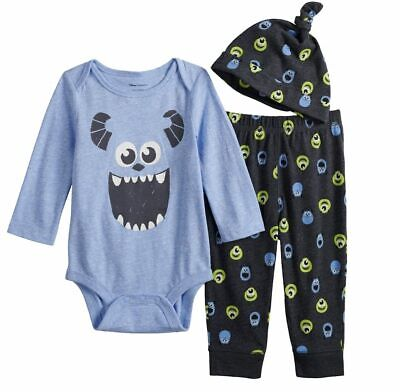 Monsters Inc Outfit (DISNEY MONSTERS INC BABY 3 PIECE OUTFIT SIZE NB 3 6 9 18 24 MONTHS)