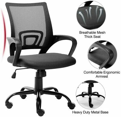 Home Office Chair Ergonomic Mesh Computer Desk Mid Back Chair Adjustable Swivel
