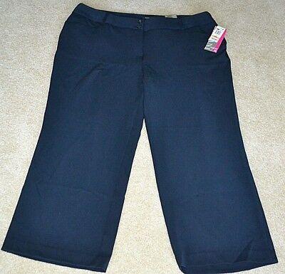 ALFANI Tummy Control Curvy Fit Wide Leg Contoured Waist Pants NAVY 24WP SHORT ()