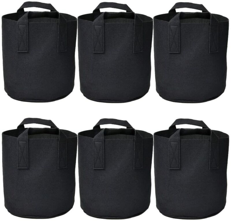 6 Packs Grow Bags Plant Bags Non-Woven Aeration Plant Fabric Pot Container