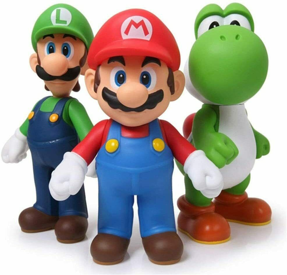 Super Mario Bros Luigi & Yoshi & Mario 5″ Action Figures Birthday Gift Toys Set Action Figures