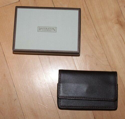 Restoration Hardware Leather Pocket Business ID Credit Card Holder Case Wallet