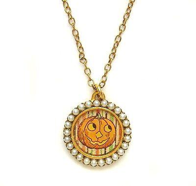 Maximal Art Necklace Halloween John Wind Pumpkin Jack-O-Latern Gold New Jewelry