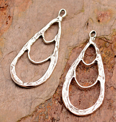 Rustic Bohemian Teardrop Earring Dangles in Sterling Silver, 376d