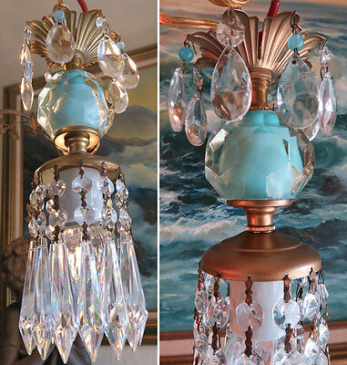 1o5 Vintage SWAG Ocean Blue aqua Brass hanging lamp chandelier crystal prisms